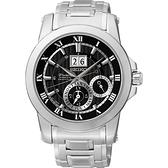 廣告款 SEIKO 精工 Premier 人動電能萬年曆手錶-黑 7D56-0AB0D