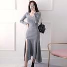 歐媛韓版 長袖洋裝 打底裙女秋冬開叉荷葉邊名媛氣質V領時尚修身加厚針織連身裙