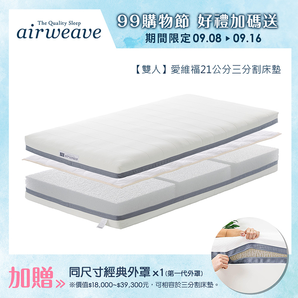 【加贈經典外罩】airweave 愛維福|雙人 - 三分割可水床墊21公分 (日本市佔第一品牌)