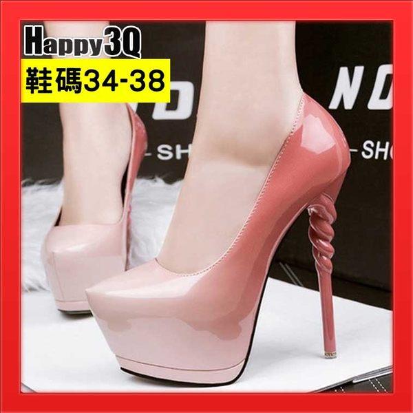 尖頭鞋漸層色高跟鞋細跟鞋高防水台超跟高鞋14CM漆皮亮面-粉/灰/藍/綠/紅/黑34-38【AAA2910】預購