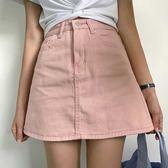夏季新品韓版簡約素面百搭牛仔半身裙女高腰顯瘦包臀A字短裙 限時八五折