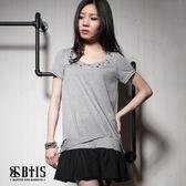 【BTIS】鉚釘蕾絲 洋裝 / 灰色