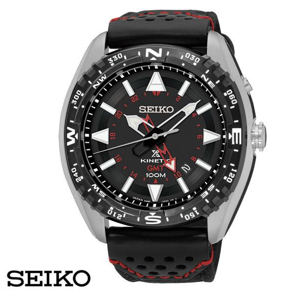 【名人鐘錶】SEIKO PROSPEX 人動電能黑紅GMT兩地時間大錶面皮革錶x45mm・SUN049P2・公司貨