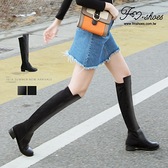 靴.貼身顯瘦彈性拼接膝上長靴-FM時尚美鞋-韓國精選.Focus
