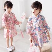 兒童睡衣女漢服春新款童裝女童中國風交領碎花棉質居家服寶寶睡袍禮物限時八九折