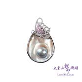 【大東山樑御】彩虹珍珠蛋形鑲鑽項墜-蝶舞系列