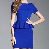 洋裝-荷葉邊夏季顯瘦高級修臀塑身長袖包臀連身裙2色71ar39【巴黎精品】