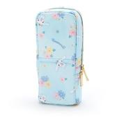 〔小禮堂〕大耳狗 直式尼龍拉鍊筆袋《藍.花朵滿版》化妝包.鉛筆盒.幸福女孩系列 4901610-07693