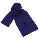 RALPH LAUREN POLO 小馬logo雙色素面100%羔羊毛圍巾(藍/黑)780915-3