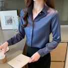 長袖襯衫 2021早春新款長袖上衣緞面襯衫女設計感小眾雪紡職業襯衣 童趣屋 交換禮物