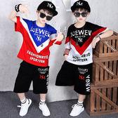男童嘻哈短袖套裝 中大童男孩夏裝潮 2019夏季新款韓版童裝