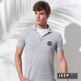 【JEEP】網路限定 美式經典洗舊風徽章短袖POLO衫 (灰色)