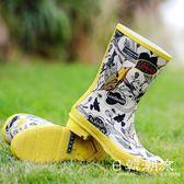 雨鞋   手繪春季時尚中筒女式雨鞋 女士雨靴復古風雨鞋中筒雨靴
