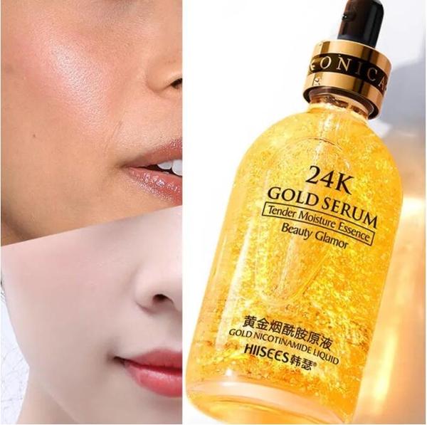 大容量100ml 24K黃金精華液 玻尿酸 補水 美白 保濕 美白 收縮毛孔 去皺紋 改善細紋 精華