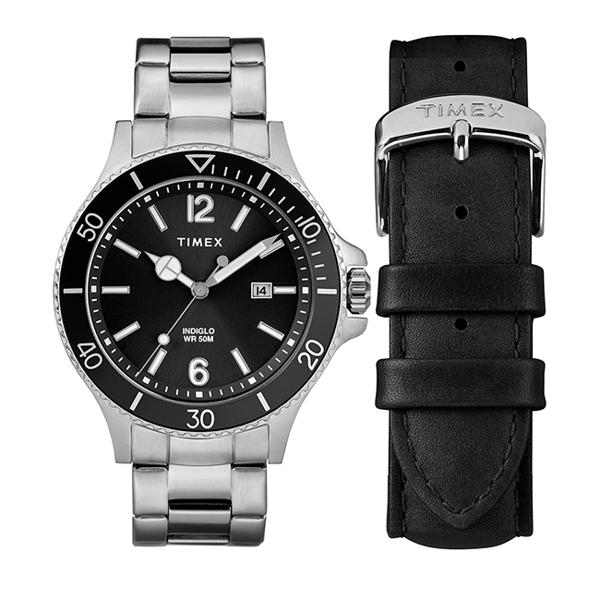 【TIMEX】 天美時 風格系列 經典手錶禮盒組 (黑/銀 TXTWG019700)