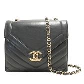 CHANEL 香奈兒 黑色牛皮金釦肩背包 Vintage Chevron Flap Bag【BRAND OFF】