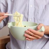 泡麵碗 竹纖維帶蓋比陶瓷好湯碗飯碗家用大碗大號吃湯面泡面杯 QG1777『優童屋』