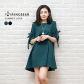 氣質洋裝--森林系精靈風挖肩蝴蝶結綁繩袖棉麻混紡連身裙(黑.綠XL-4L)-D450眼圈熊中大尺碼