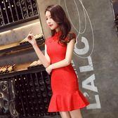 旗袍短款2018夏季新款修身敬酒服中國風新娘紅色結婚禮服性感女