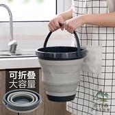車載折疊手提水桶家用伸縮塑料釣魚桶加厚塑料小圓桶【步行者戶外生活館】