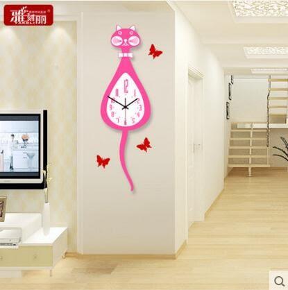 雅刻麗掛鐘客廳現代簡約時鐘創意時尚石英鐘靜音卡通猫兒童房鐘錶(20英吋)