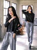 秋冬冬健身房運動套裝女韓國瑜伽服三件套寬鬆戶外運動跑步速干衣「寶貝小鎮」