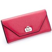皮夾(長夾)-信封式簡約純色鎖扣兩折女零錢包2色73eb40[時尚巴黎]