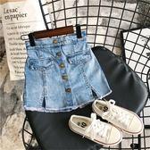 女寶寶舒適牛仔短褲 2019女童夏季新品時尚休閒純色紐扣牛仔裙褲
