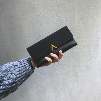 錢包 新款女韓版潮個性長款小清新多功能搭扣日韓復古薄零錢包
