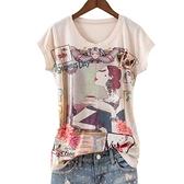 T恤 歐貨2021夏季新款 時尚百搭咖啡女郎印花 修身圓領彩棉女短袖T恤