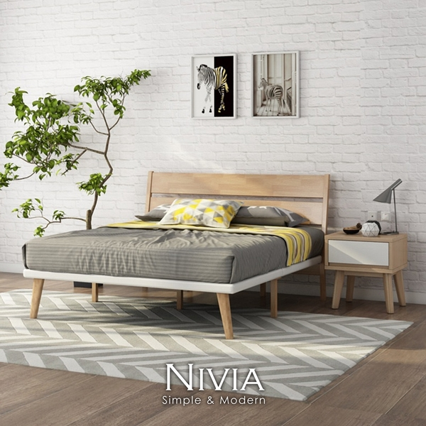 Nivia北歐實木雙人床架 實木床架【obis】