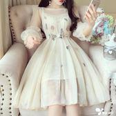 韓版甜美仙女氣質立體花朵刺繡收腰燈籠袖小禮服蓬蓬網