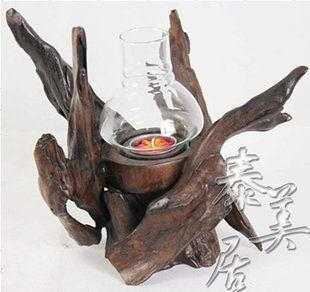 進口工藝品 東南亞風格木雕擺件家居飾品 擺設樹根燭台A款