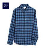 Gap男裝 簡約格子長袖襯衫 500047-漸變藍色格紋
