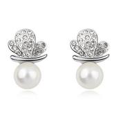 珍珠耳環 925純銀耳針式-蝴蝶鑲鑽生日情人節禮物女飾品3色73bd203【時尚巴黎】