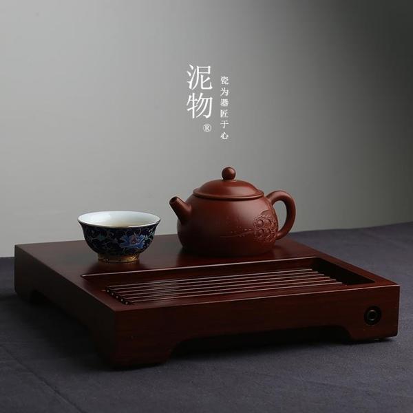 茗匠烏金石重竹茶盤簡約茶具實木茶海排水式茶臺長迷你小號茶托盤
