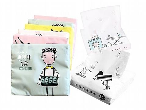 印花紙巾隨身Q包(60抽) 隨機不挑款 【小三美日】面紙/衛生紙