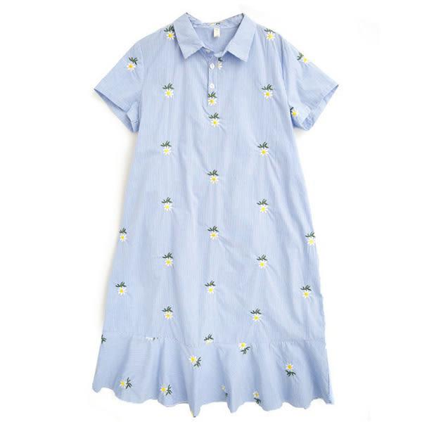 *孕味十足。孕婦裝* 現貨+預購【CQH920806】棉麻滿版繡花直條紋孕婦洋裝 藍