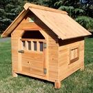 FIBER范博包郵實木本色狗屋室內室外通用防雨狗窩杉木貓窩寵物屋「時尚彩紅屋」