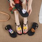 夾腳涼鞋 卡通正韓百搭可愛人字拖女防滑平底沙灘鞋度假♥歐洲站