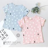 純棉 清新字母滿版短袖上衣-2色(粉&藍) 竹節棉 短T 日系 簡約 哎北比童裝