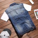 秋季坎肩男士牛仔馬甲男無袖外套男休閒背心青少年馬甲韓式修身潮 最後一天85折