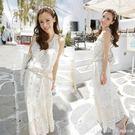 連身裙 歐洲站名媛氣質性感蕾絲修身中長款洋裝波西米亞長裙沙灘裙夏女 俏girl
