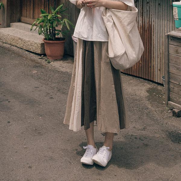 Queen Shop【03020713】日系大地色拼接傘擺棉麻裙*現+預*