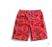 情侶速乾沙灘褲夏季男女海邊度假寬鬆紅色印花游泳褲 夏洛特
