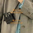 車縫線小眾設計迷你可愛小方包女百搭斜挎手提口紅包【橘社小鎮】