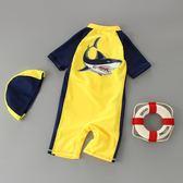 兒童泳裝 鯊魚男童女孩連身泳褲溫泉嬰兒寶寶防曬潛水服短袖
