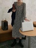 雪紡洋裝 秋季2021年新款法式復古中長款雪紡長袖打底碎花連身裙女裝裙子潮 嬡孕哺 新品