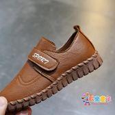 2018新款兒童鞋男童皮鞋透氣小學生黑色表演出鞋魔術貼女童豆豆鞋