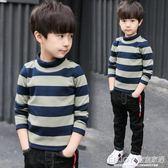 男童條紋打底衫  男童長袖T恤秋冬裝兒童中大童加絨打底衫高領條紋加厚潮 宜室家居